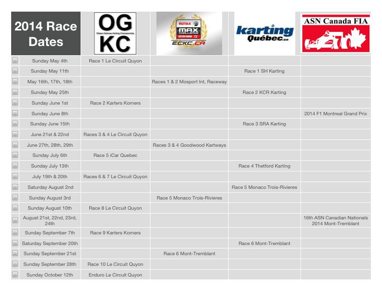 2014 OGKC series schedule posted